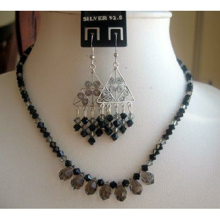 Hand Made Vintage Set in Swarovski Jet Black Diamond clear Crystals