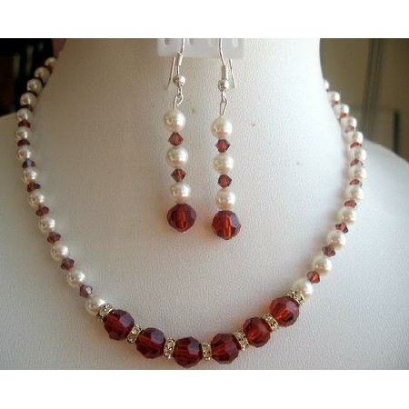 Vintage Victorian Set of Cream Rose Pearls Indian Red Crystals Ball