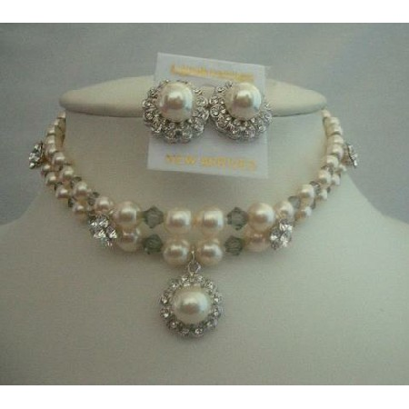Swarovski Cream Pearls Handcrafted Double String Jewelry Necklace Set