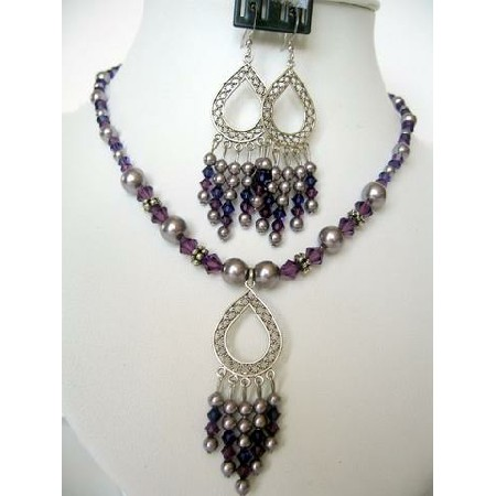 Swarovski Purple Pearls Amethyst Crystals Dangling Pendants Necklace