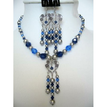 Swarovski Sapphire Crystals Pearls Vintage Necklace Set Custom Jewelry