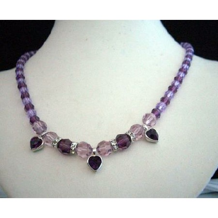 Swarovski Amethyst Light Dark Crystals Heart Pendant Necklace Jewelry