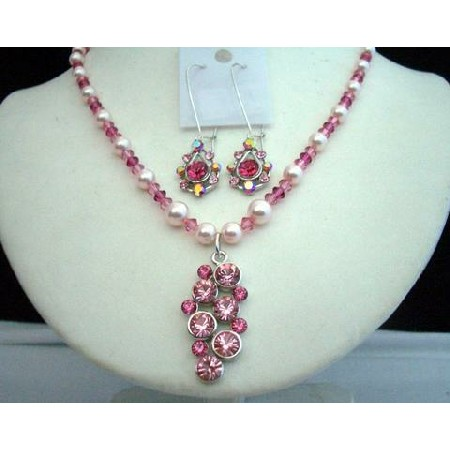 Swarovski Light Dark Pink Rose Crystals Pearls w/ Pendant Necklace Set