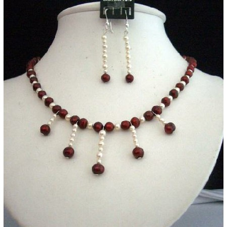 Simulated Red Pearls Swarovski Cream Rose Pearls Necklace Set