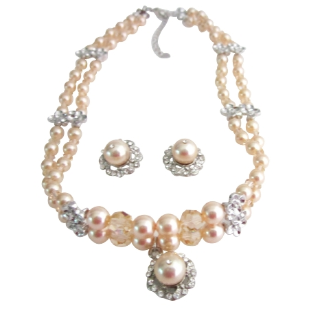 Swarovski Peach Crystals Pearls Necklace Set Double String Jewelry