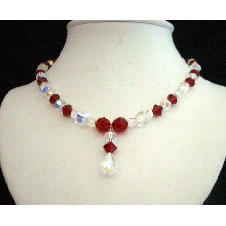 Swarovski AB Siam Red & AB Crystals Drop Pendant Handcrafted Necklace
