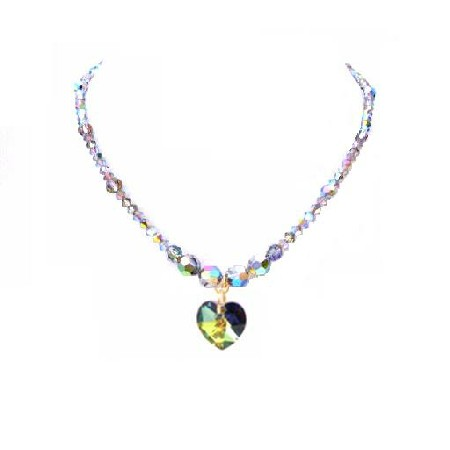 Vitrail Swarovski Crystals Necklace Heart Handcrafted Custom Jewelry