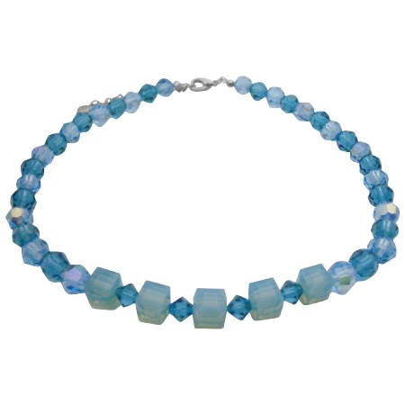 Swarovski Blue Acquamarine Indicolite Crystals Necklace Choker Jewelry