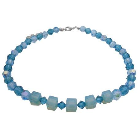 Swarovski Blue Acquamarine Indicolite Crystals Necklace Choker Jewelry