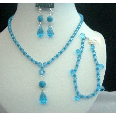 Necklace Set Bracelet Swarovski Aquamarine Turquoise Crystals