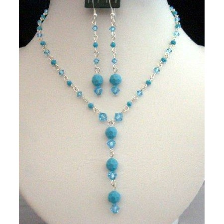 Swarovski Aquamarine Turquoise Crystals Y Necklace Set Custom jewelry