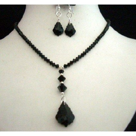 Handcrafted Necklace Set in Swarovski In Jet Crystals