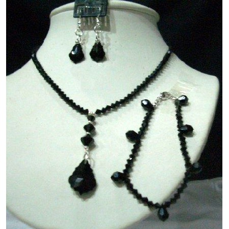 CustomMade Swarovski Jet Crystals Jewelry Set w/ Bracelet