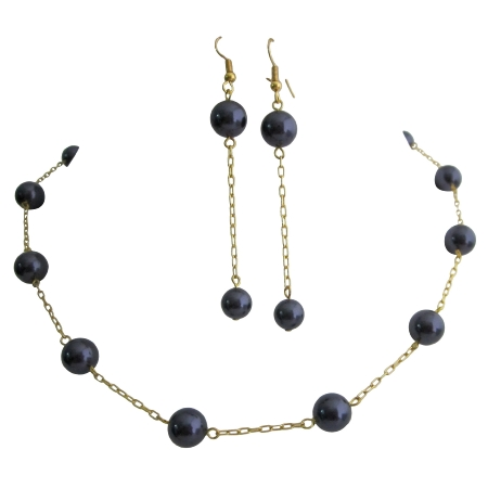 Necklace Set Swarovski Darkest Purple Pearls w/ Toggle Clasp