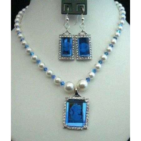 Swarovski Pearls Crystals Victorian Cameo Lady Pendant Earrings Set