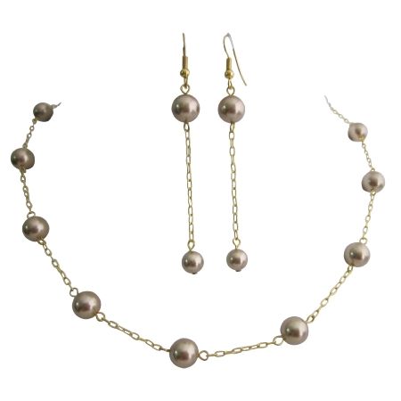Necklace Set Smoked Topaz Pearls Toggle Clasp At Back 22k Gold Plated