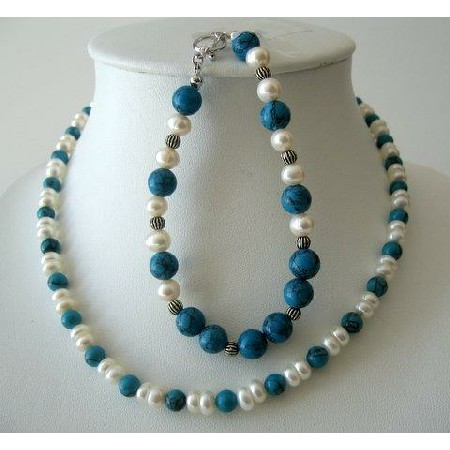 Necklace & Bracelet Turquoise Bead w/ Potato Shaped Freshwater Pearls