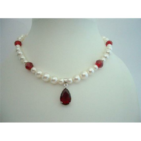 Wedding Necklace Swarovski Cream Pearls & Siam Red Crystals w/ Pendant