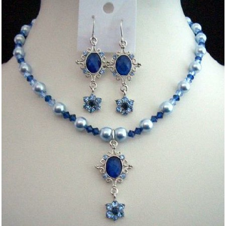 Swarovski Blue Pearls Sapphire Light Dark Crystal Pendant Necklace Set