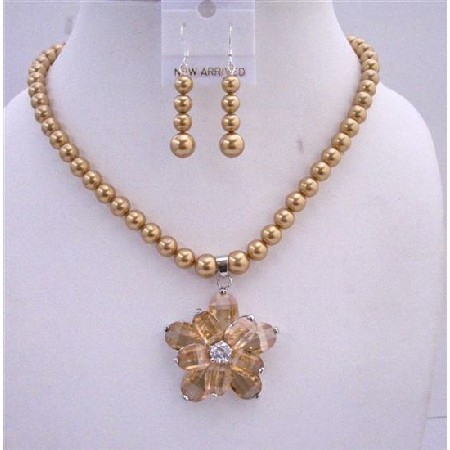 Golden Tone Necklace Set Golden Pearls Topaz Crystals Flower Pendant