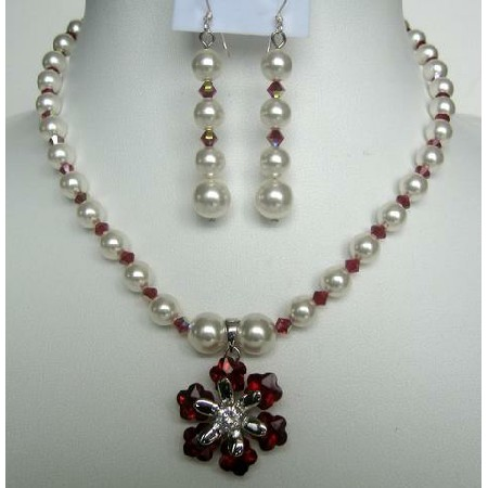Necklace Earrings White Pearls Siam Red AB Cystals w/ Flower Pendant