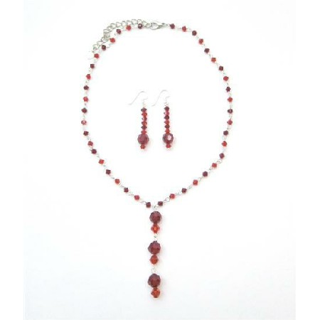 Crystals Jewelry Red Necklace Set Y Handcrafted Swarovski Crystals