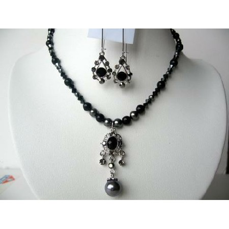 Pendant Necklace Set Mystic & Dark Grey Pearls w/ Jet Crystals