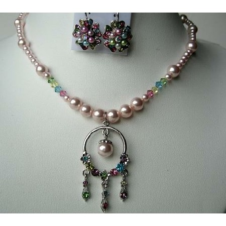 Necklace & Earrings Pearls & Multi Cystals w/ Dangling Pendant