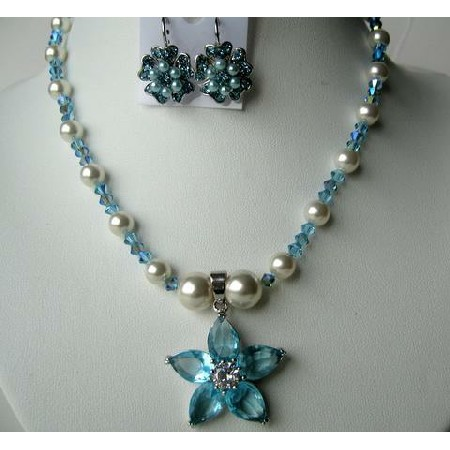 Aquamarine AB Cystals Flower Pendant Necklace & Earrings White Pearls