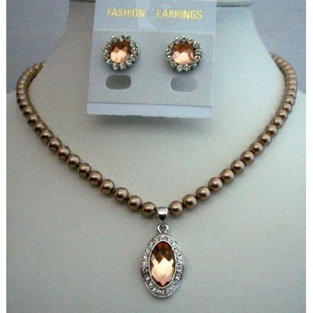 Necklace Set Jewelry Swarovski Bronze Pearls w/ Pendant Stud Earrings
