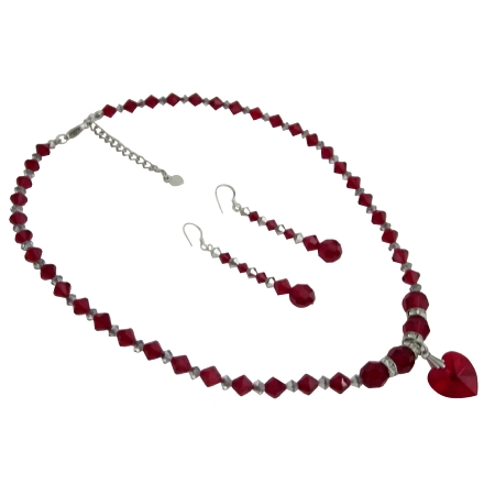 Jewelry Bridal Bridesmaid Siam Red Crystals Heart Pendant Necklace Set