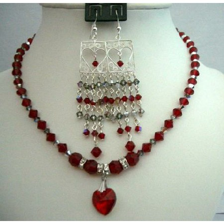 Chandelier Earrings & Siam Red Crystals Necklace Heart Pendant