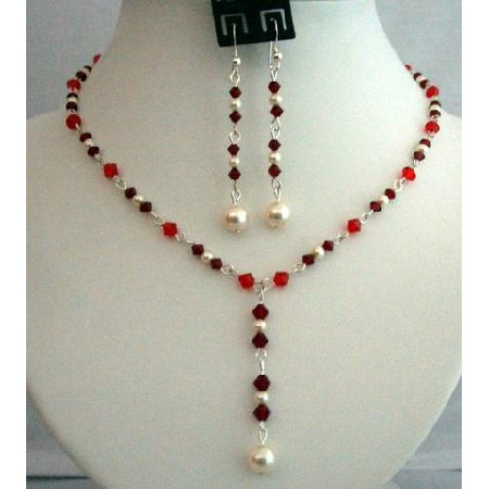 Handcrafted Crystals Jewelry Siam Red w/ Cream Pearls Necklace Set Y