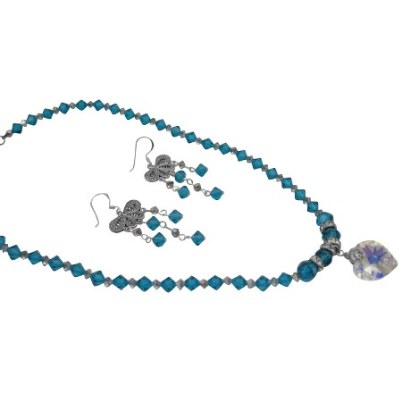 Swarovski Blue Zircon Meridian AB Crystals Heart Pendant Necklace Set