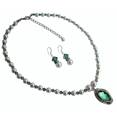 Erinite Crystals White Pearls Necklace Set Swarovski Crystals Jewelry