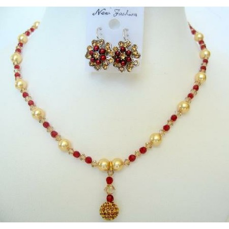 Multi Color Crystals Necklace & Golden Pearls w/ Pendant Jewelry Set