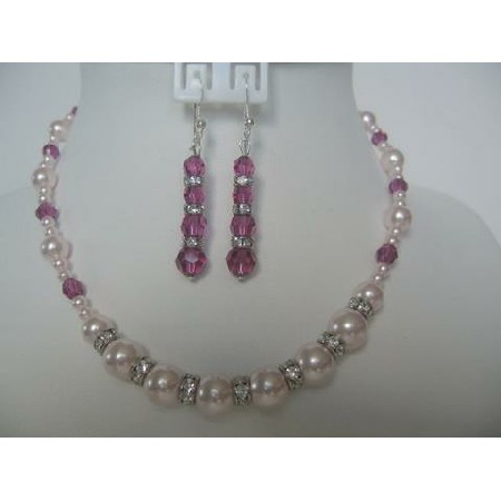 Necklace Set Swarovski Rosaline Pearl Fuchsia Crystals Silver Rondells