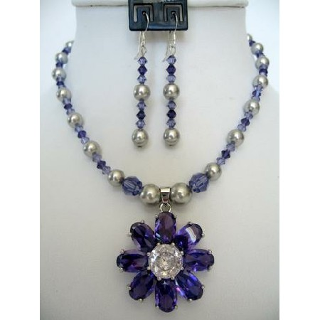 Tanzanite Crystals & Pearls Necklace & Earrings Flower Pendant Jewelry