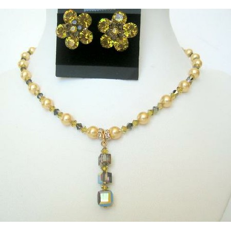 Pearl Jewelry Pearls Lime Pearls & Lime Crystals Swarovski Necklace Set
