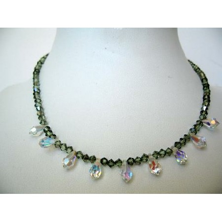 Swarovski String Chrysolite Satin Crystals & AB Briolettes Necklace