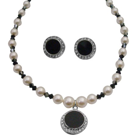 Black White Necklace Set Swarovski Cream White Pearls AB Jet Crystals