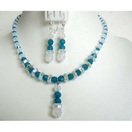 Carribean Blue Crystals White Opal Crystals Artisan Necklace Set Drop