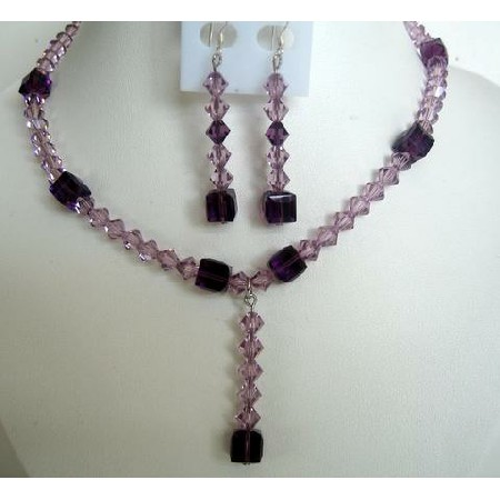 Evening Party Jewelry Bridal & Bridesmaid Amethyst Crystals TearDrop