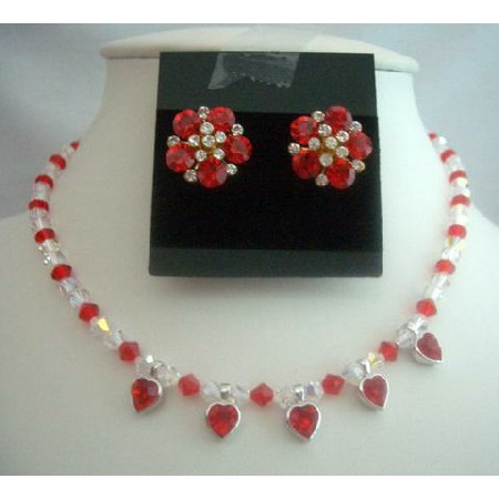 Bridal Jewelry Necklace Set Siam Red Crystals Necklace Set AB Crystals