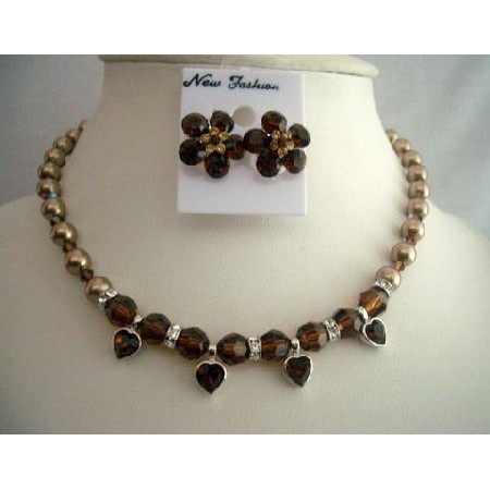Swarovski Bronze Pearls Smoked Crystals Rondell Heart Pendant Necklace