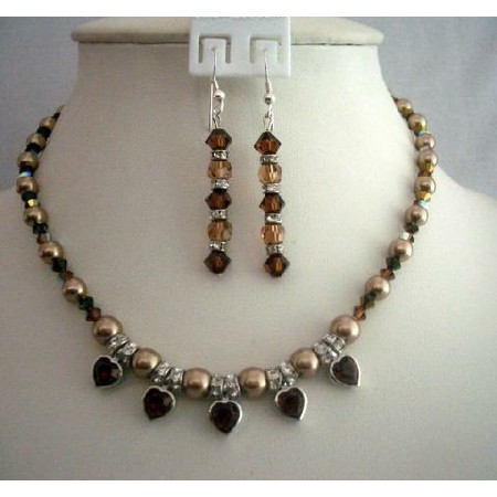 Expresso Color Necklace Set Swarovski Bronze Pearls & Smoked Crystals