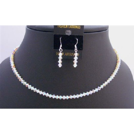 Round Neck Necklace String Swarovski AB 2X Crystals Necklace