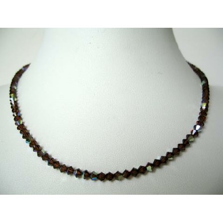 Swarovski AB Coated Smoked Topaz Crystals String Round Necklace