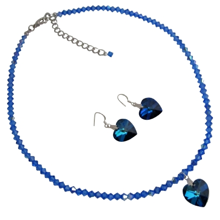 Sapphire BICONE Swarovski Crystal Heart Cute Pendants Necklace