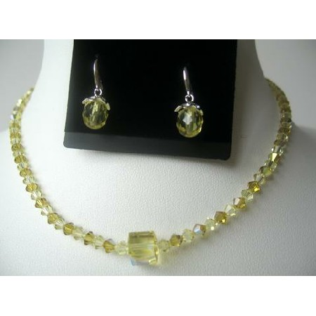 Swarovski Lime Jonquil Crystals Necklace Set Teardrop Earring